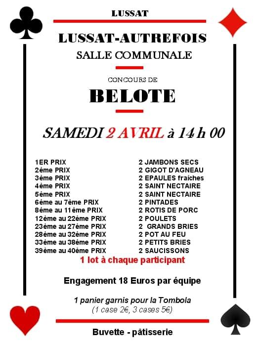 Concours de belote Samedi 2 Avril 20216 à Lussat