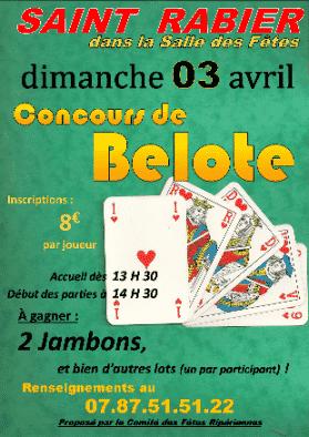 Affiche du Concours de Belote le 3 avril 2016 à Saint Rabier (24210)