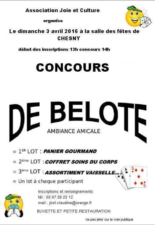 concours de belote le 3 avril 2016 à Chesny – Moselle