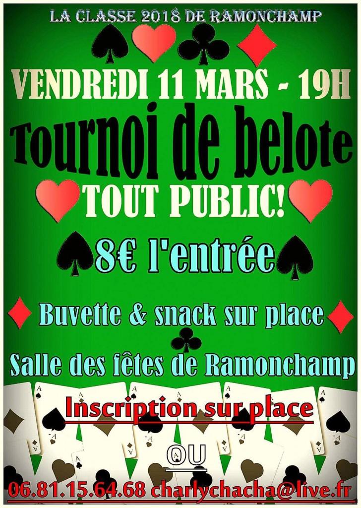 Affiche du tournoi de belote le 11 mars 2016 à Ramonchamp - Vosges