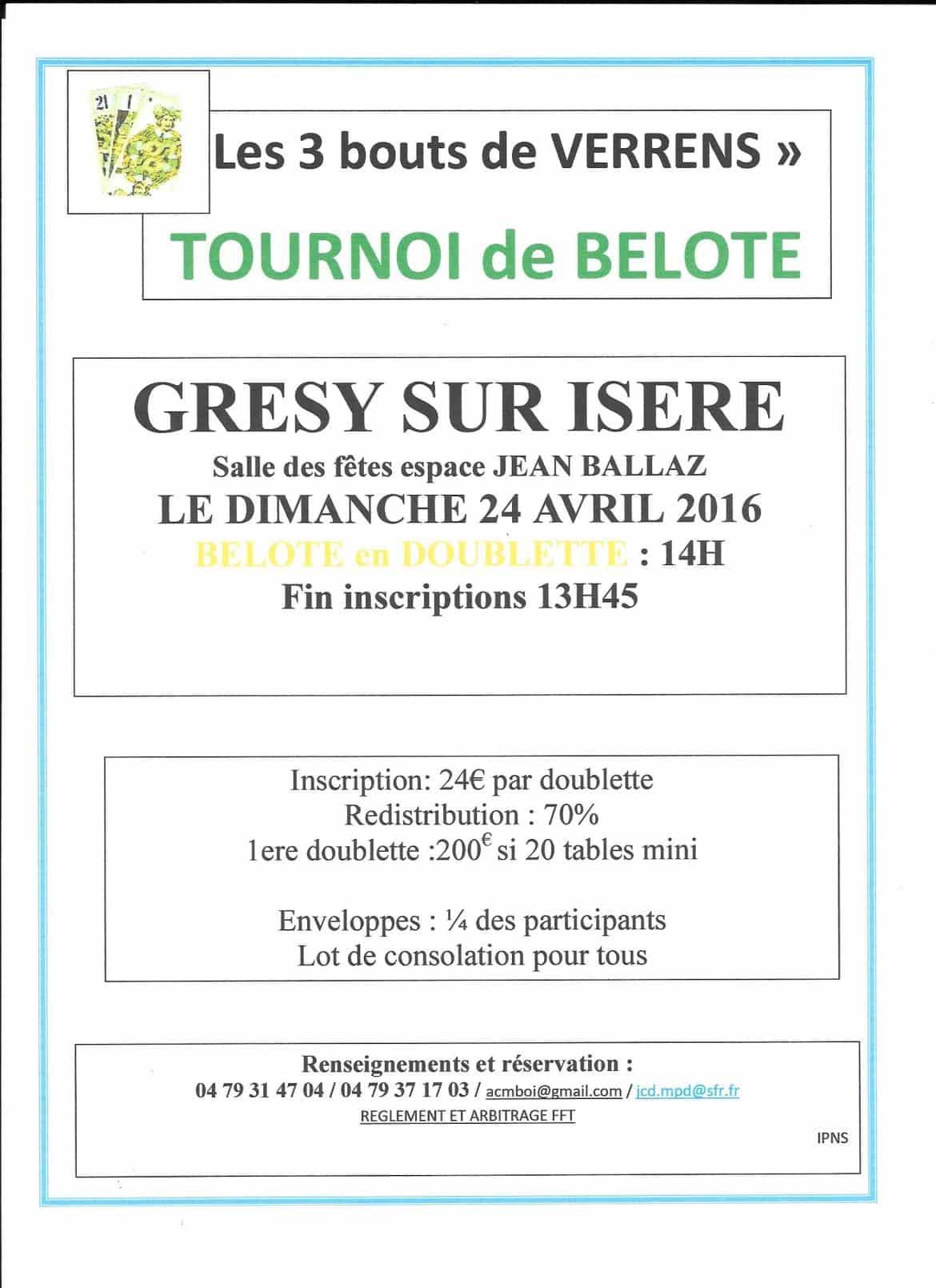 Affiche du Tournoi de belote dimanche 24 04 2016 à GRESY sur ISERE 73460