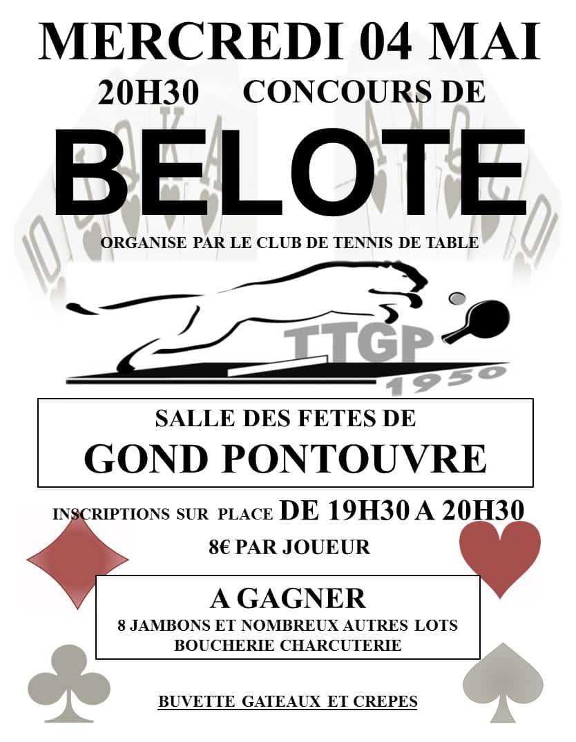 affiche Tournoi de belote mercredi 4 mai 2016 à Gond Pontouvre - Charente