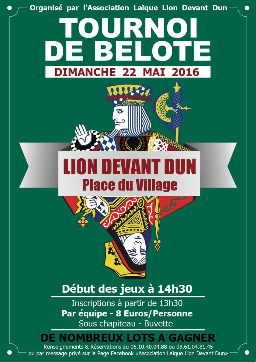 Tournoi de Belote le 22 Mai 2016 à Lion devant Dun – Meuse