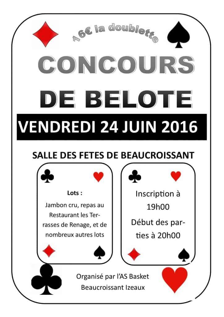 Affiche du tournoi de belote le 24 juin 2016 à Beaucroissant