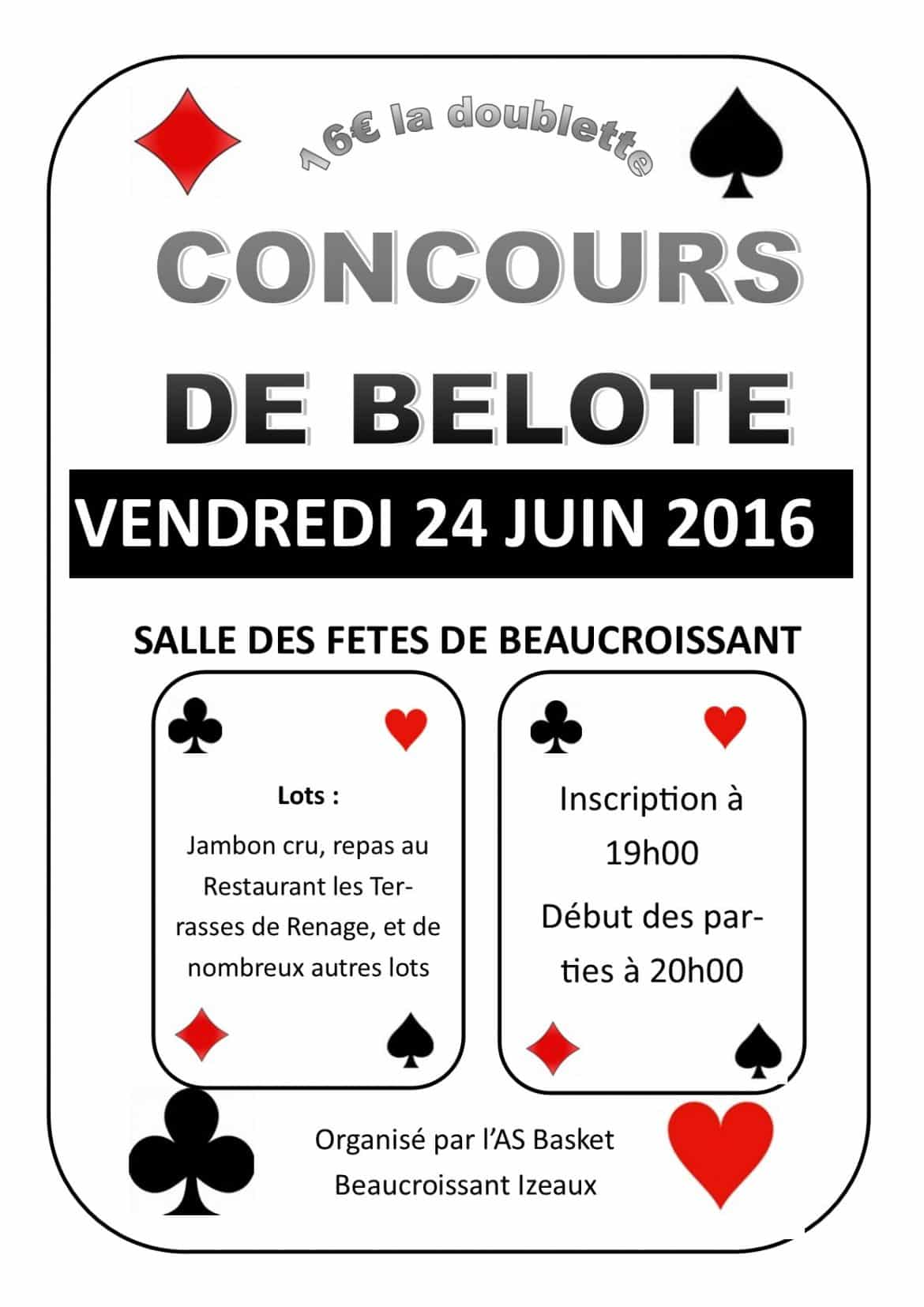 Tournoi de belote le 24 juin 2016 à Beaucroissant