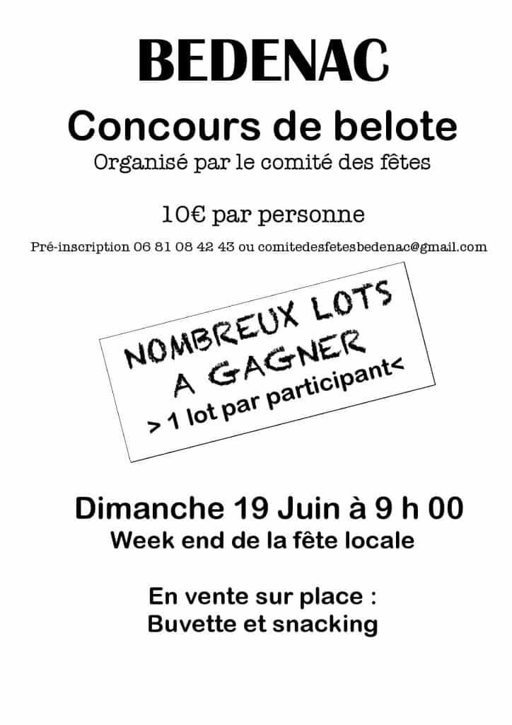 Affiche du Concours de belote le 19 juin 2016 à Bedenac (17)