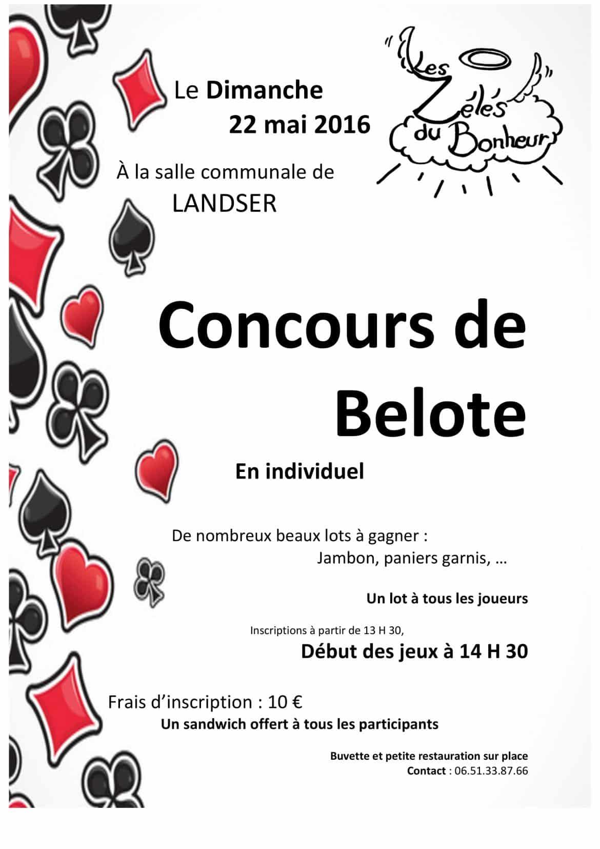 Affiche du Tournoi de belote le 22 mai 2016 à Landser - Haut Rhin