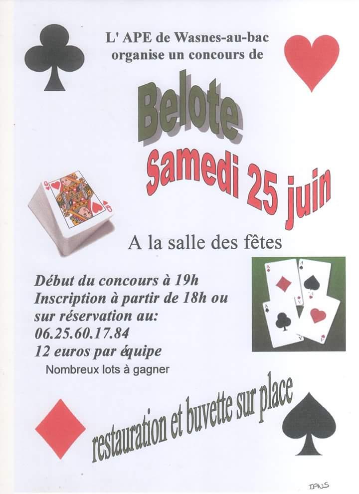 Affiche du Concours de belote le 25 juin 2016 à Wasnes Au Bac - Nord