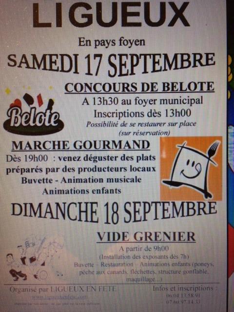 Tournoi de belote le samedi 17 septembre à Ligueux (Gironde)