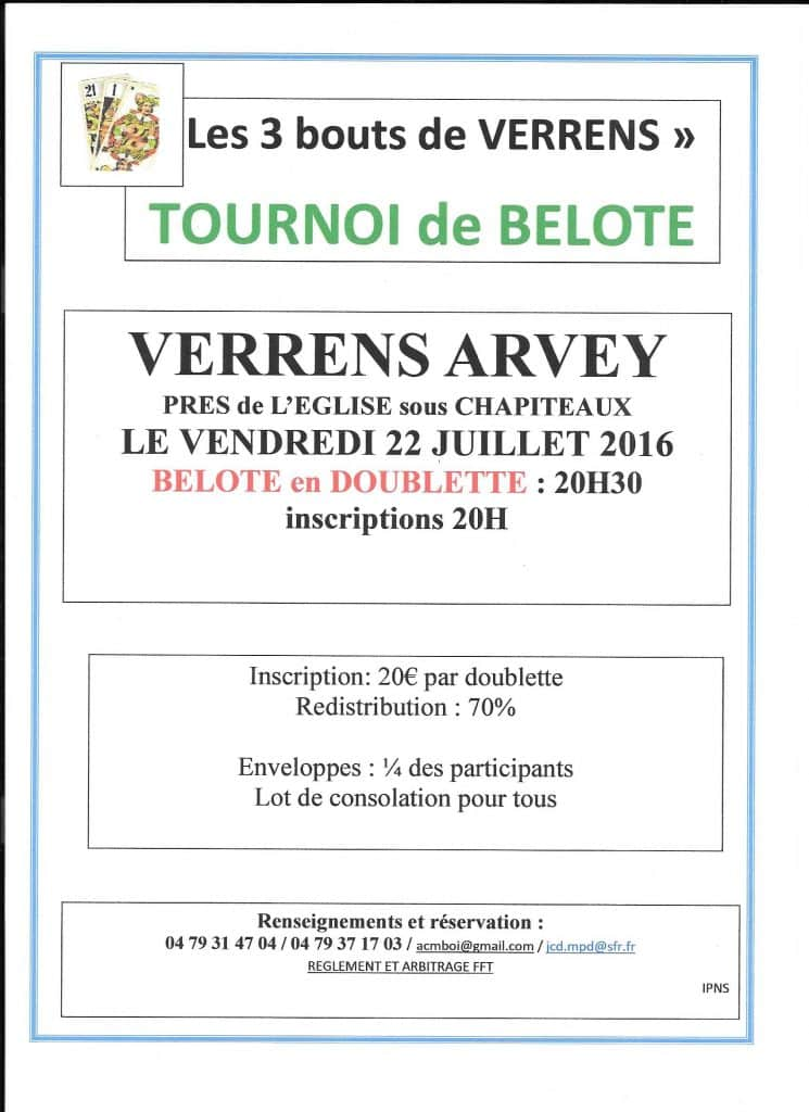 Tounoi de belote le vendredi 22 07 2016 à VERRENS ARVEY 73460