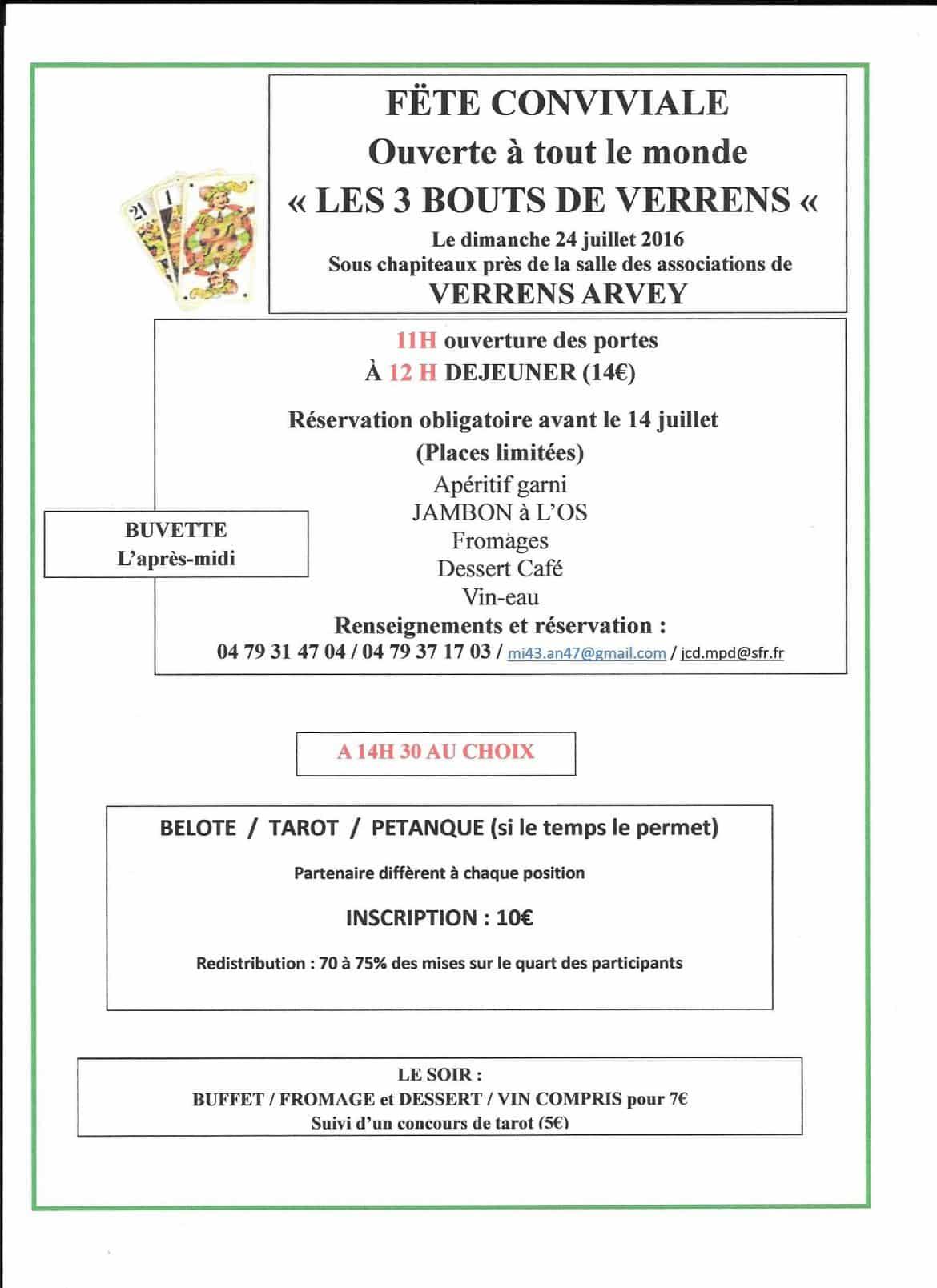 Tounoi de belote dimanche 24 juillet 2016 à VERRENS ARVEY 73460