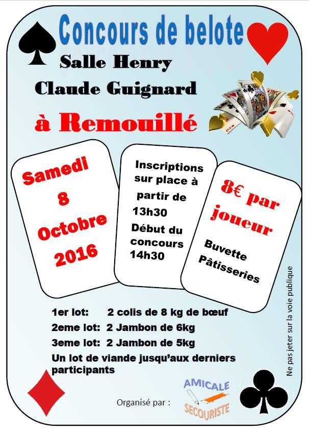 Concours de belote le 8 octobre 2016 à Remouillé – Loire Atlantique