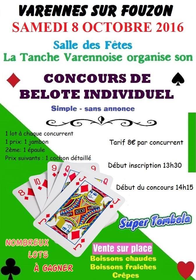 Affiche du concours de belote individuel organisé le 8 octobre 2016 à Varennes sur Fouzon dans l'Indre