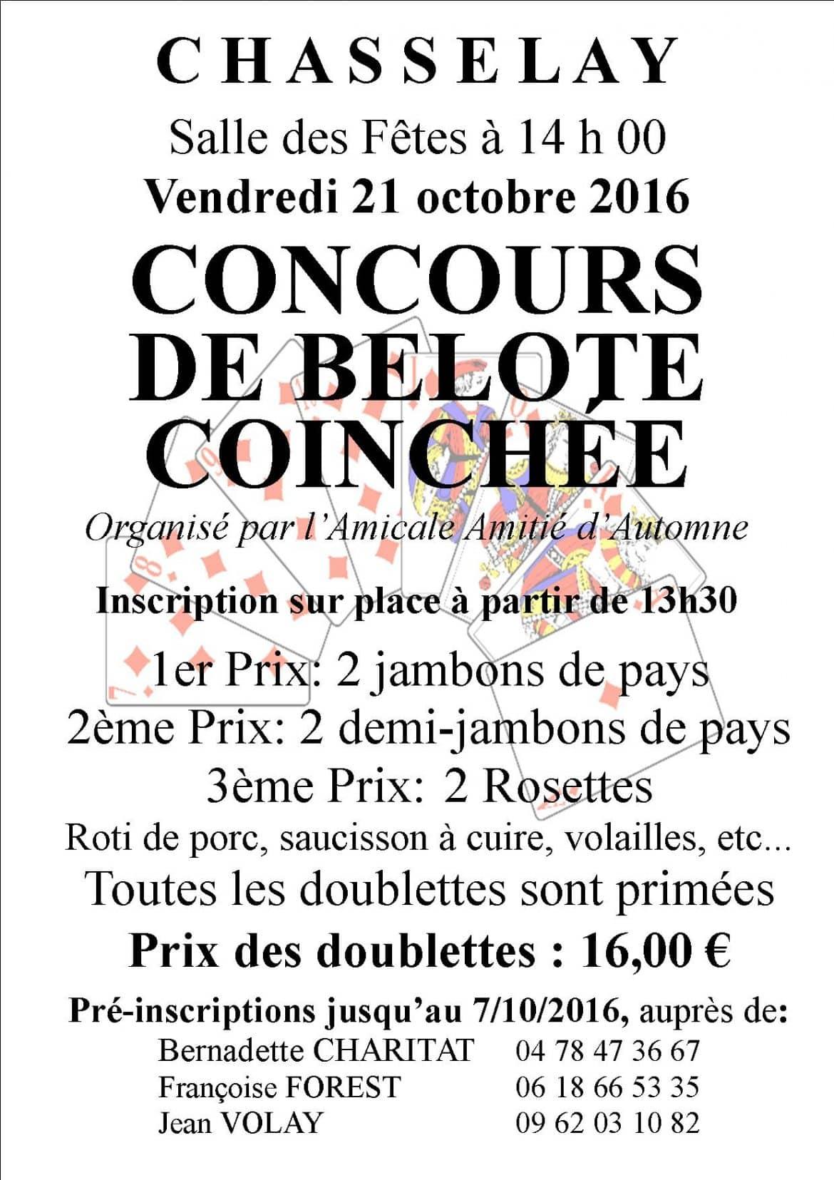 Affiche du tournoi de belote organisé vendredi 21 octobre 2016 à Chasselay - Rhône