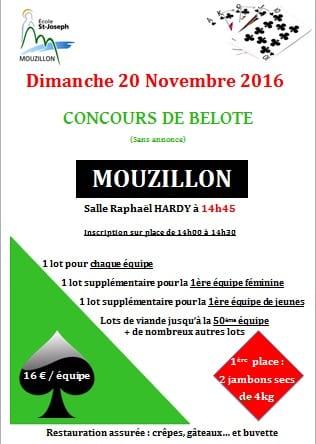 Concours de belote le 20 novembre 2016 à Mouzillon (44330)