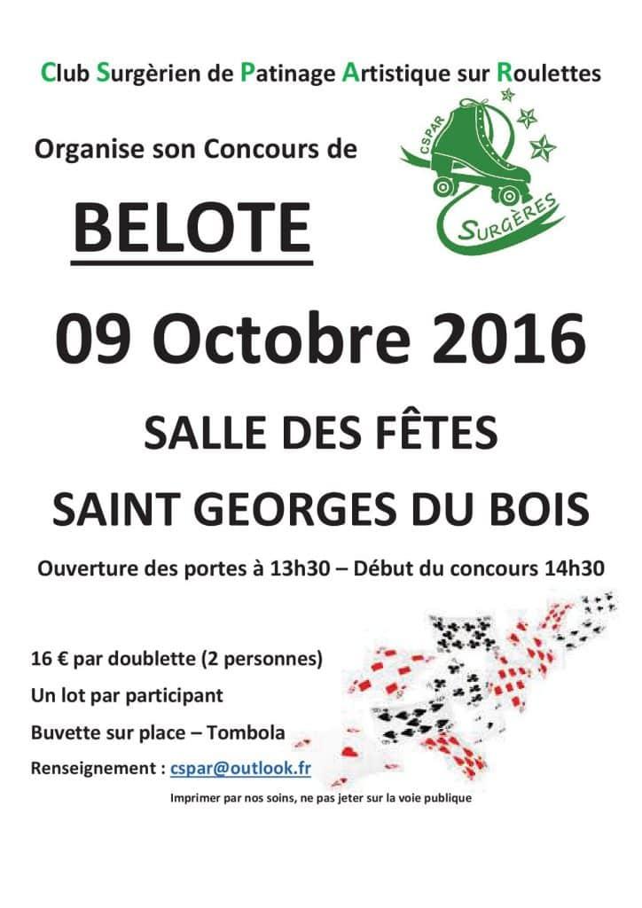 Affiche du Concours de Belote le 09 octobre 2016 à St Georges du Bois (17)