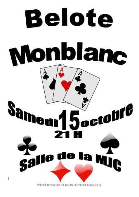 Affiche du tournoi de belote du 15 Octobre 2016 à 32130 Monblanc - Gers