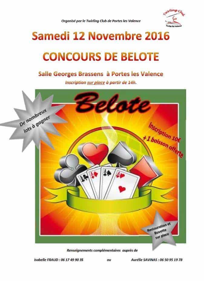 Affiche du Concours de belote le 12 novembre 2016 à Portes les Valence (26)