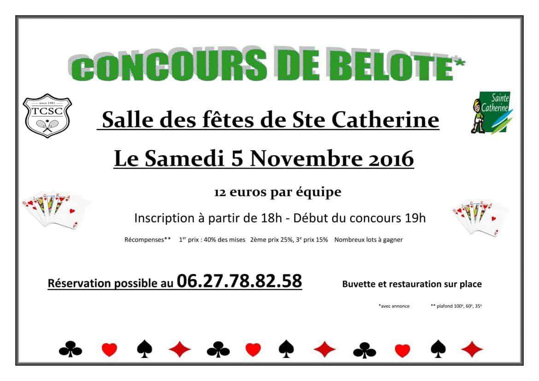 Tournoi de belote le 5 novembre à Sainte-Catherine-les-Arras – 62