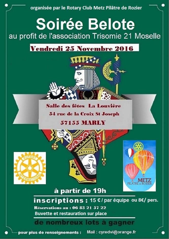 Affiche Grande Soirée Belote le 25 novembre 2016 à Marly - Moselle