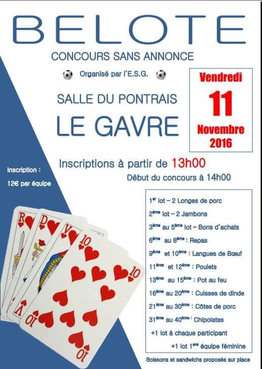 Affiche du concours de Belote ES Gavraise