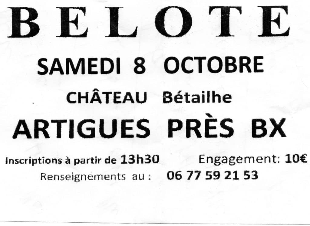 Affiche Concours de belote samedi 8 octobre 2016 à Artigues près de bordeaux