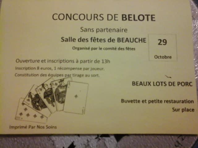 Concours de belote le 29 octobre 2016 à Beauche