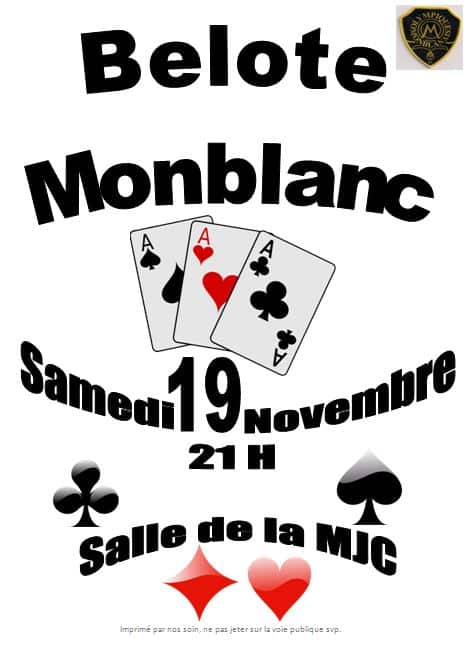 Affiche Tournoi de belote le 19 novembre 2016 à Monblanc - Gers