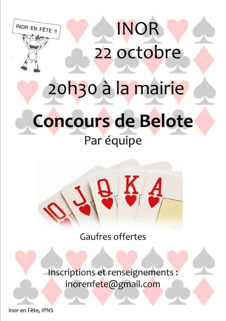 Affiche Tournoi de Belote le 22 octobre 2016 à Inor (55700)
