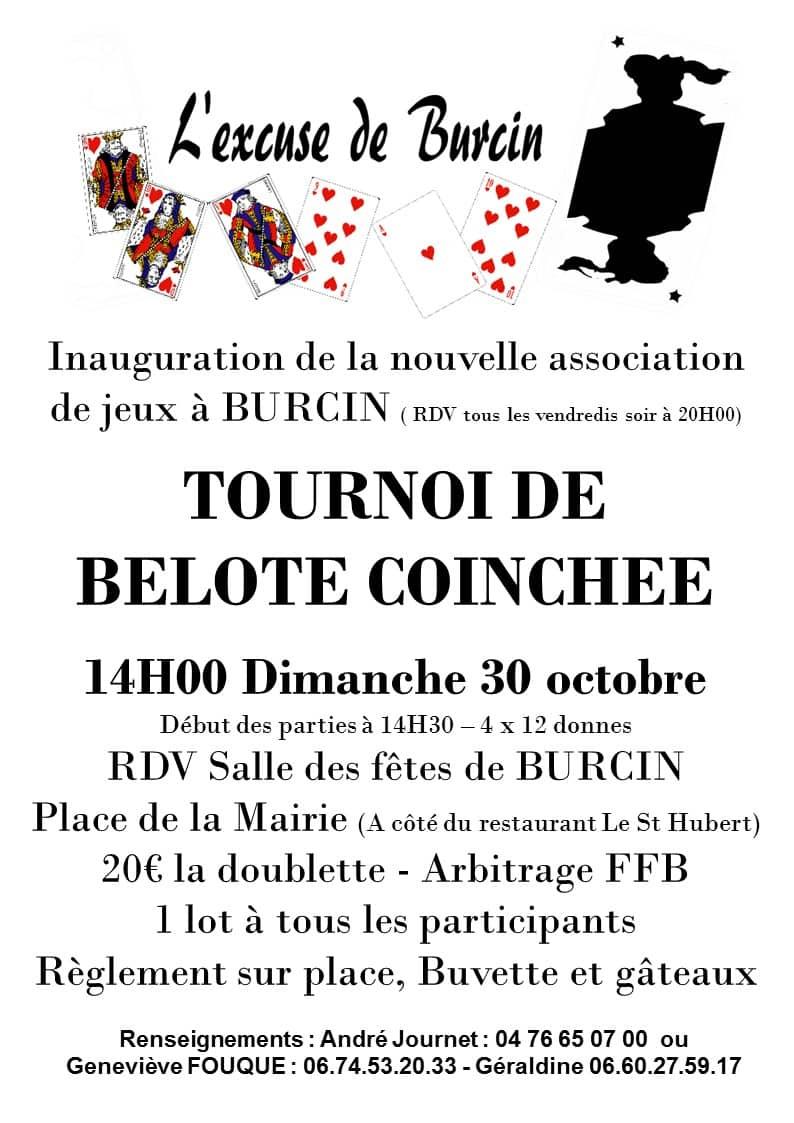 Affiche Concours de Belote Coinchée le 30 octobre 2016 à Burcin 38690