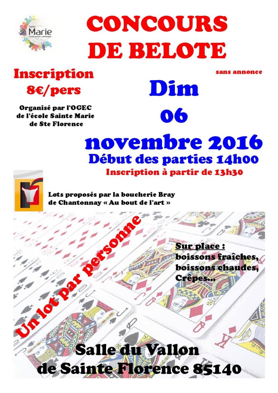 Affiche Concours de Belote Dimanche 6 Novembre 2016 Sainte-Florence