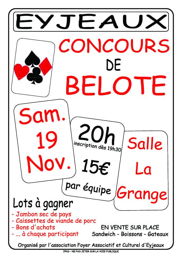 Affiche du tournoi de belote le 19 novembre 2016 à Eyjeaux