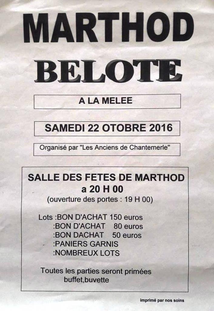 Concoursd de belote le 22 Octobre 2016 à Marthod