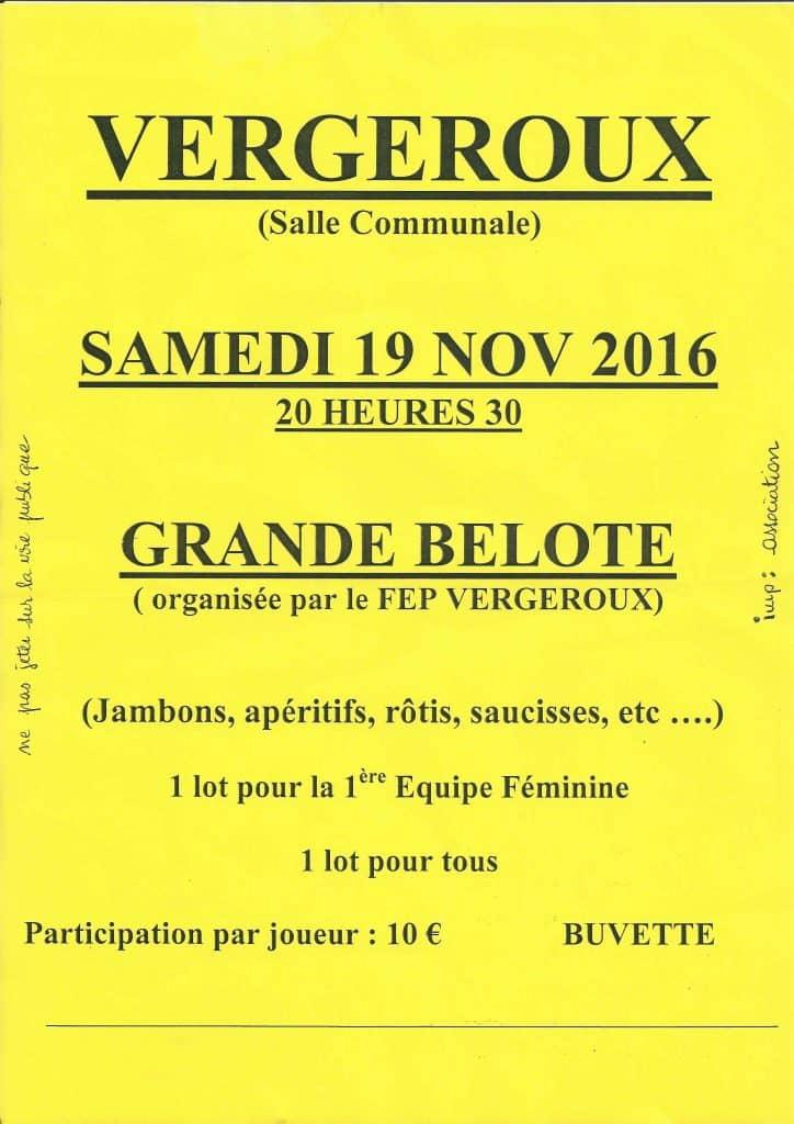 Affiche du concours de belote le 19 novembre 2016 à Vergeroux