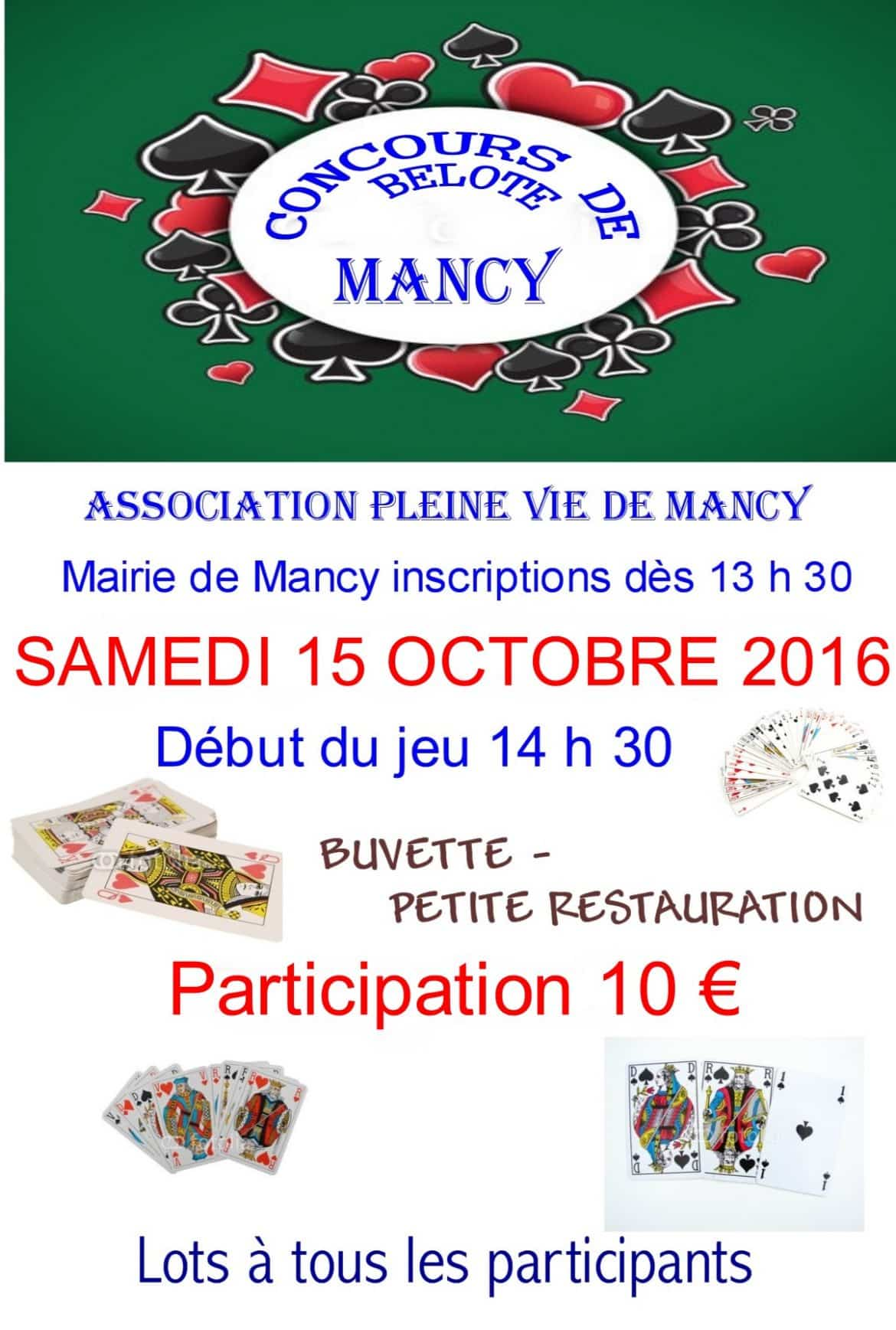 Tournoi de belote le 15 octobre 2016 à Mancy – Marne