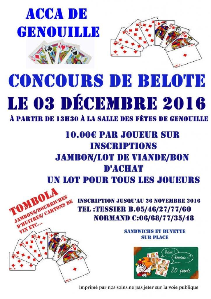 Concours de belote le 3 Décembre 2016 à Genouillé 17430