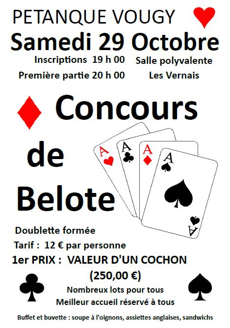 Concours de belote le 29 octobre 2016 à Vougy (74)