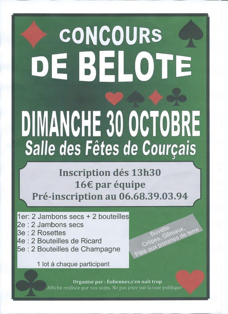 Affiche du concours de Belote le 30 octobre 2016 à Courçais - Allier