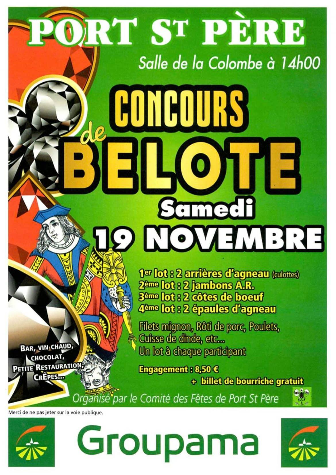 Affiche Concours de belote le 19 Novembre 2016 à Port st Père