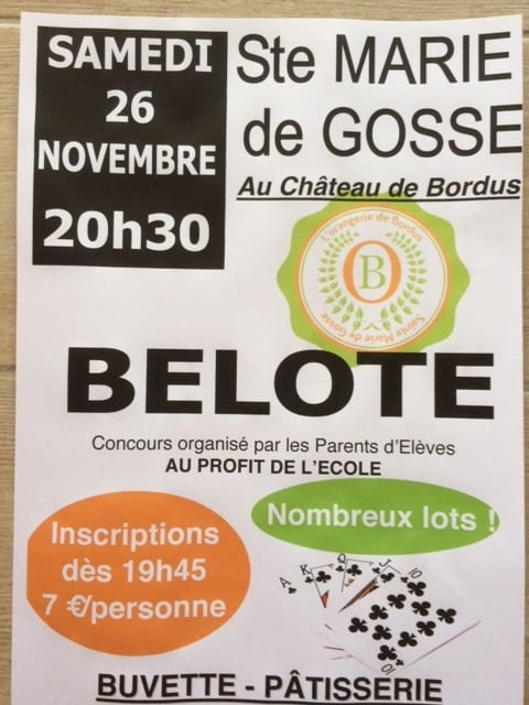 Affiche du concours de belote samedi 26 novembre 2016 à Sainte Marie de Gosse (40390)