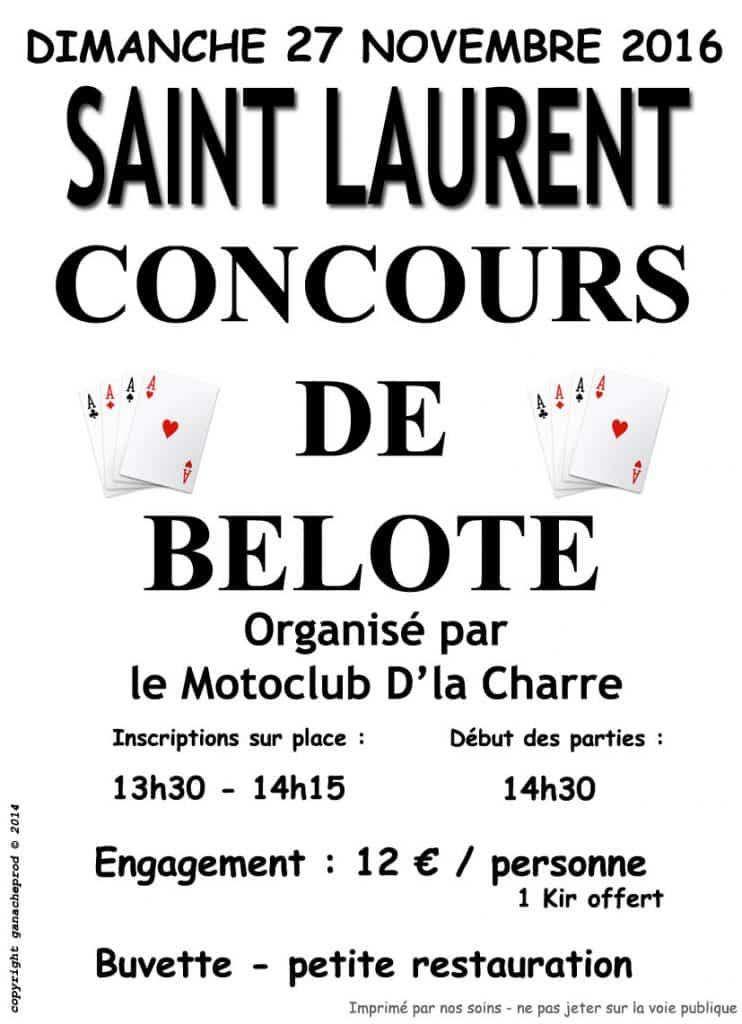 affiche Tournoi de belote le 27 novembre 2016 à Saint Laurent
