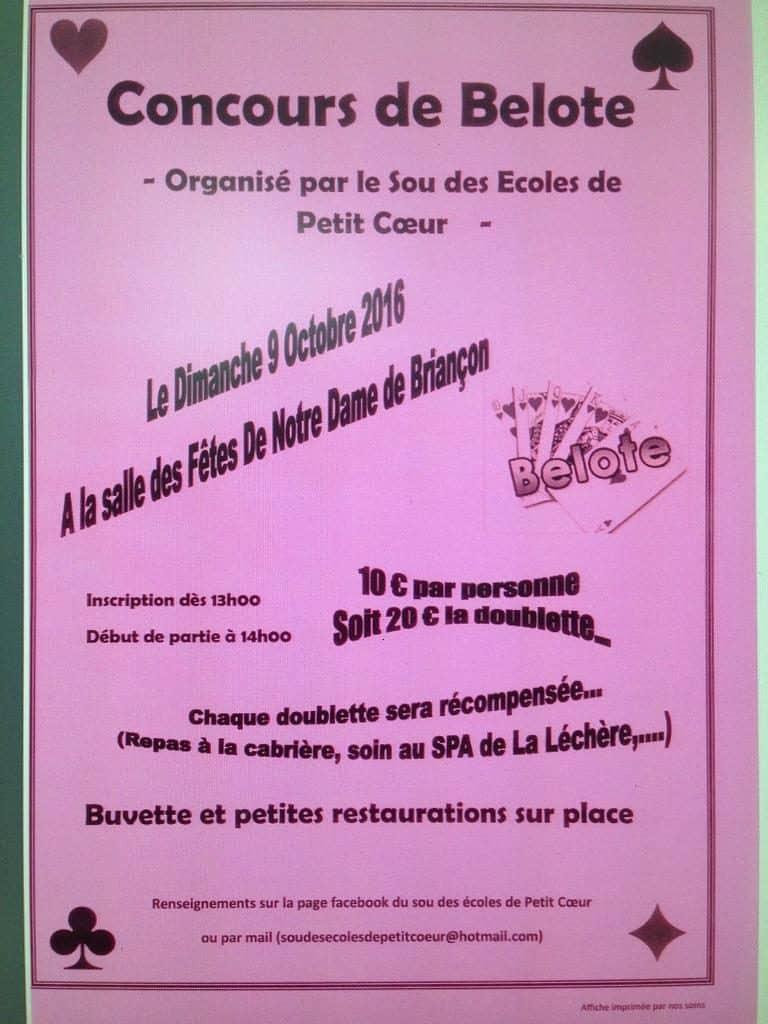 affiche Tournoi de belote dimanche 9 octobre 2016 à Notre Dame de Briançon - 73