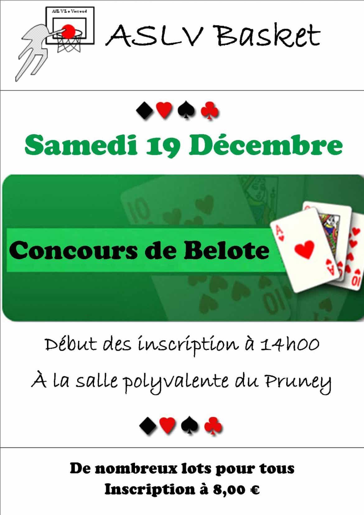 affiche Concours de belote le 29 octobre 2016 au Versoud