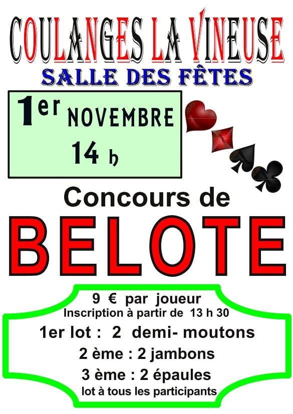 affiche Concours de belote le 1er novembre 2016 à Coulanges la Vineuse