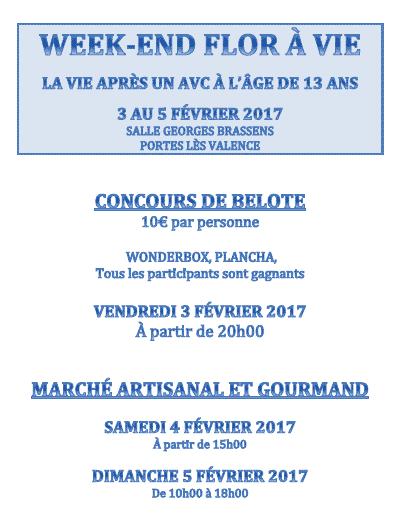 affiche week end floravie, Tournoi de belote le 3 février 2017 à Portes les Valence - Drôme