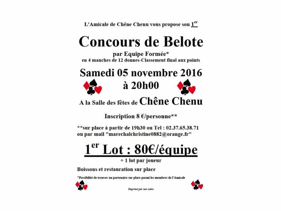 Concours de Belote le 5 novembre 2016 à Chêne Chenu (28)