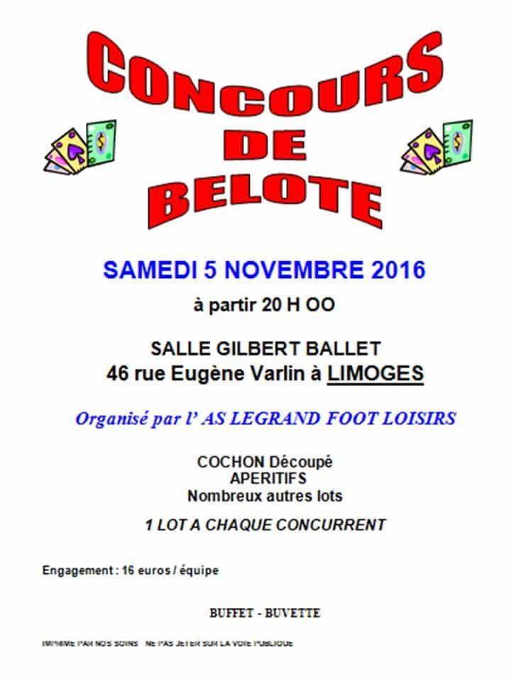 Tournoi de belote à Limoges le samedi 5 novembre 2016