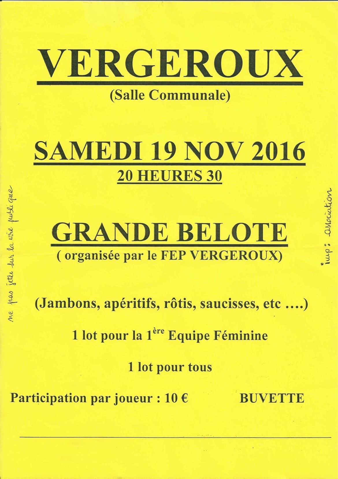 Affiche du concours de belote le vendredi 28 octobre 2016 à Méricourt