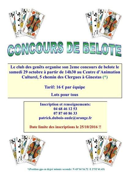 Affiche du concours de belote le 29 octobre 2016 à Ginestas 11120