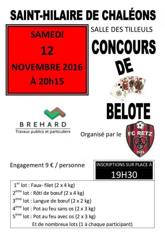 Affiche du concours de belote le 12 Novembre 2016 à Saint-hilaire de Chaléons (44)